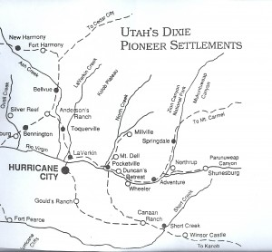 Early Settement Map of Southern Utah
